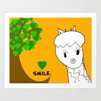 Smile! Sweet Giraffe - Art by Child Art Print