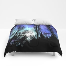 Black Trees Periwinkle Blue Lavender SPACE Comforters