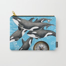 Orca Whales Pod Blue Compass Vintage Map Carry-All Pouch