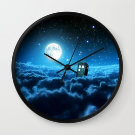 Tardis Cloud And Moon Wall Clock