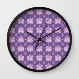 Gentle Pastel Pink  Lotus Flower Pattern Wall Clock