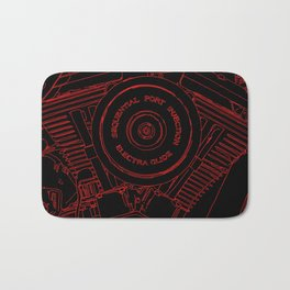cycle motor, red on black Bath Mat