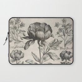 Antique floral black and white chinoiserie flower vintage Paris flowers French botanical goth print Laptop Sleeve