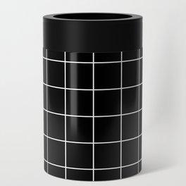 Grid Line Stripe Black and White Minimalist Geometric Can Cooler