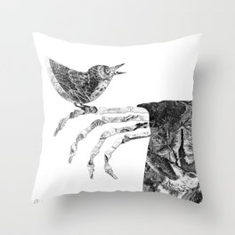 Death and the Nightingale Throw Pillow