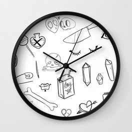creepy cute witchy pattern Wall Clock