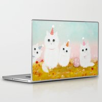 kittens Laptop & iPad Skins featuring Birthday Kittens by Danse de Lune
