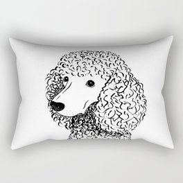 Poodle (Black and White) Rectangular Pillow