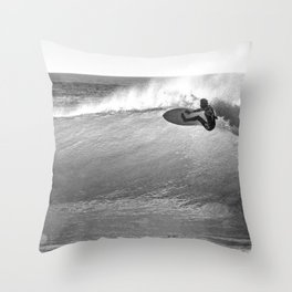 Surfing at CoXos, Ericeira, Portugal Throw Pillow