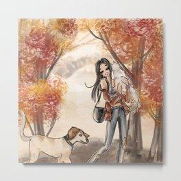 Fall Folliage Walk with Pets Metal Print