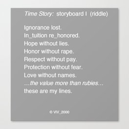 Time Story:  Storyboard I (riddle) Canvas Print