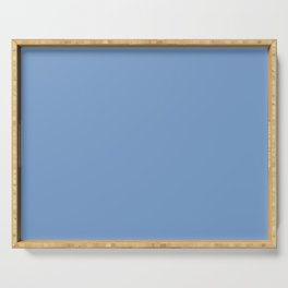 Dark Chalky Pastel Blue Solid Color Serving Tray