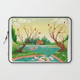 Pond and animals.  Laptop Sleeve