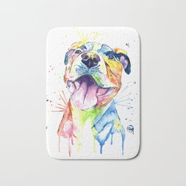 Pit Bull, Pitbull Watercolor Painting - The Softer Side Bath Mat