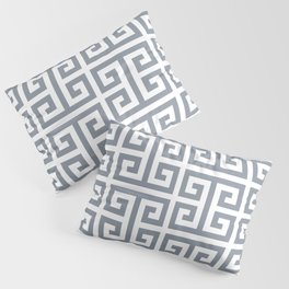 Large Steel Grey and White Greek Key Pattern Pillow Sham