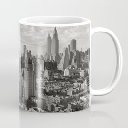 East River Waterfront, Empire State and Manhattan NYC Skyline black and white photograph Coffee Mug