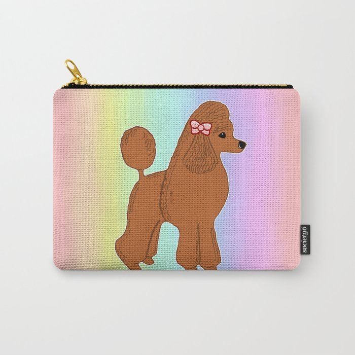 Red Poodle with Pastel Rainbow Carry-All Pouch