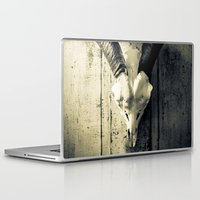 animal skull Laptop & iPad Skins featuring Animal Skull I (Duotone) by Digital.Soapbox