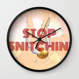 """Stop Golden Snitchin'"" Print Crimson/Gold 1/2 Wall Clock"
