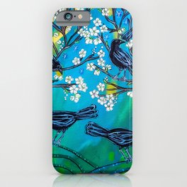 Crows in Plum Tree iPhone Case