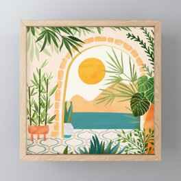 Villa View / Tropical Landscape Framed Mini Art Print