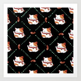 Maneki Neko Pattern Art Print