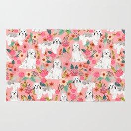 Havanese Floral - dog, dogs, cute dog, white dog, flowers, florals, pink floral Rug