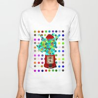 gumball V-neck T-shirts featuring Gumball Unicorns by That's So Unicorny
