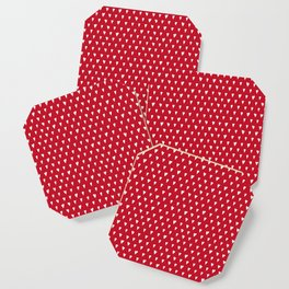 Bright Christmas red with white hearts pattern Coaster