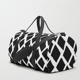 Rhombus Black And White Duffle Bag
