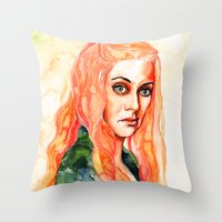 lions Throw Pillows featuring Lions by Maria Bruggeman