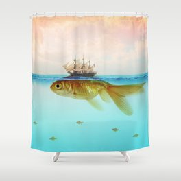 Goldfish Tall Ship Shower Curtain