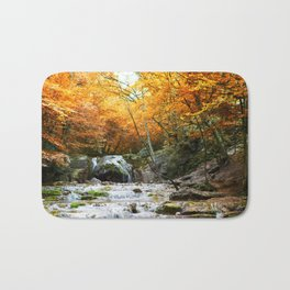 Autumn Forest Waterfall Bath Mat