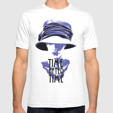 Time After Time Bleu MEDIUM Mens Fitted Tee White