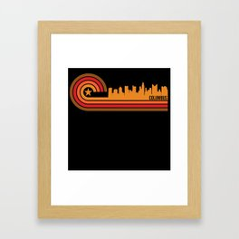 Retro Style Columbus Ohio Skyline Framed Art Print
