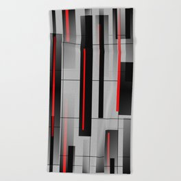 Off the Grid - Abstract - Gray, Black, Red Beach Towel