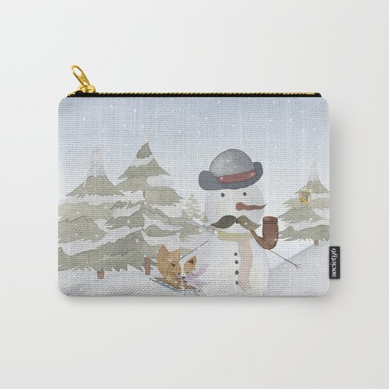 Winter Wonderland- Funny Snowman and friends - Watercolor illustration III Carry-All Pouch