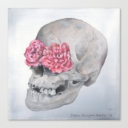 Floral Anatomy Skull Canvas Print