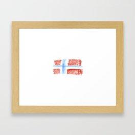 flag of norway 8 – Chalk version  snow,scandinavia,scandinavian,norwegian,oslo Framed Art Print