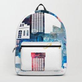 Watercolor Baltimore skyline design Backpack
