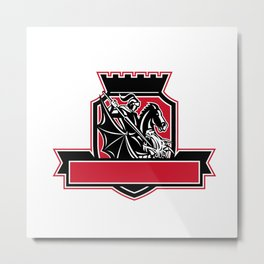 St George Slaying Dragon Crest Retro Metal Print