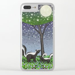 starlit striped skunks Clear iPhone Case