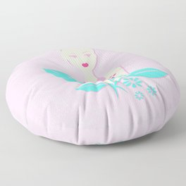 A girl with a top knot. Floor Pillow
