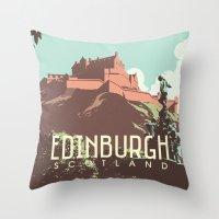 edinburgh Throw Pillows featuring Edinburgh by bonggg