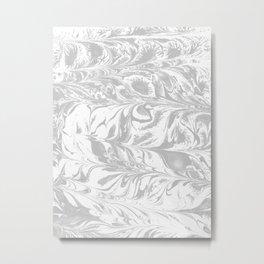 Marble grey 1 Suminagashi watercolor pattern art pisces water wave ocean minimal design Metal Print