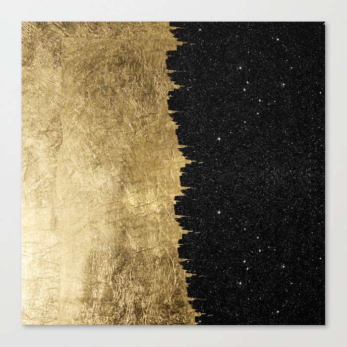 Faux Gold and Black Starry Night Brushstrokes Leinwanddruck
