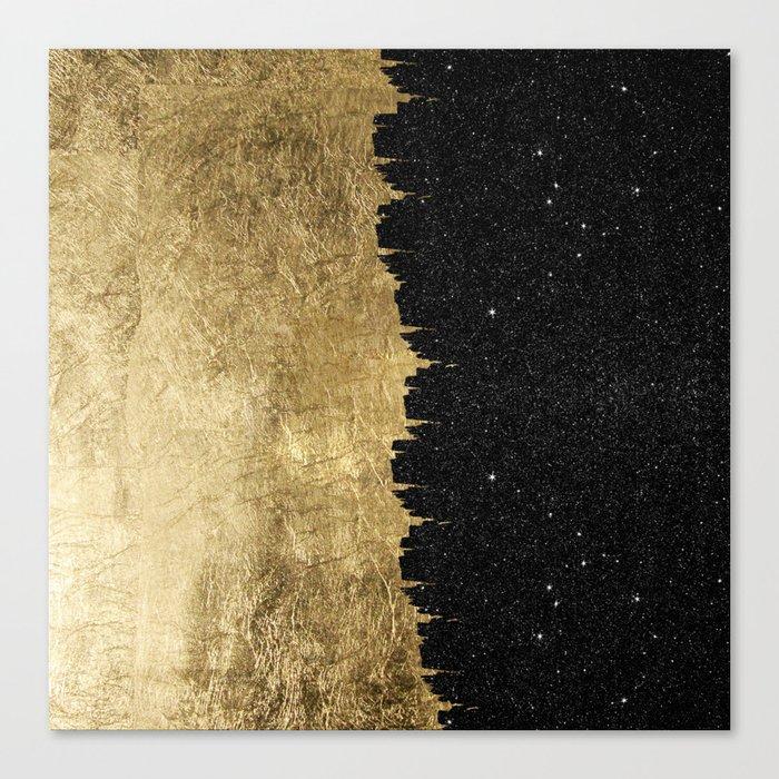 Faux Gold and Black Starry Night Brushstrokes Leinwanddruck