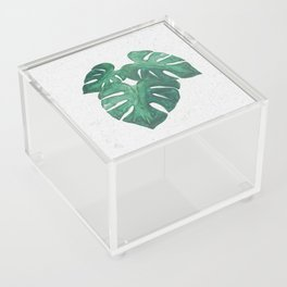 Boho Plant Trio of Monstera Leaves Acrylic Box
