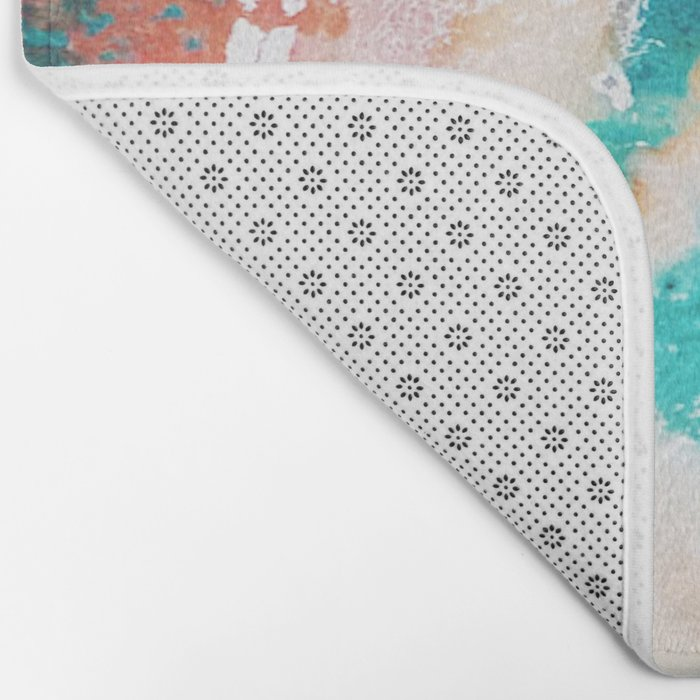 Sea Foam and Pink Abstract Bath Mat
