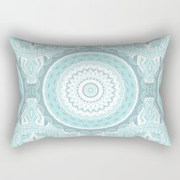Mandala Pattern Light Blue Teal Aqua Pastels Rectangular Pillow